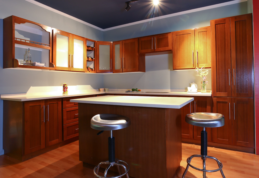 Gallery of finished kitchens closets doors cabinets for Modern homes designs trinidad