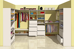 Walk-in Closet with Kim 2-Drawer and 4-Drawer Organisers with Beulah Shelving Units