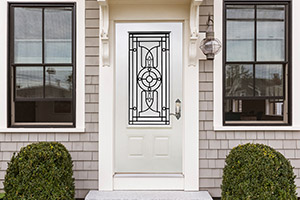 Steel Nariva Door featuring Single Panel Glass with Wrought Iron Design