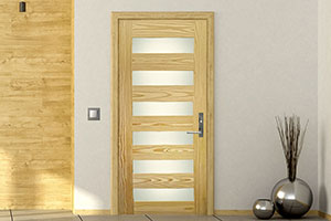 Bayside 6Z Door, featuring a 6-Lite Design with Acid-etched Glass, in Southern Yellow Pine